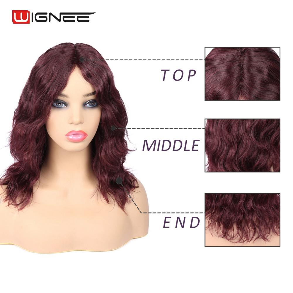 Wignee Short Remy Human Hair Wigs For Black/White Women Middle Part Natural Wave 150% High Density Glueless Lace Part Hair Wig