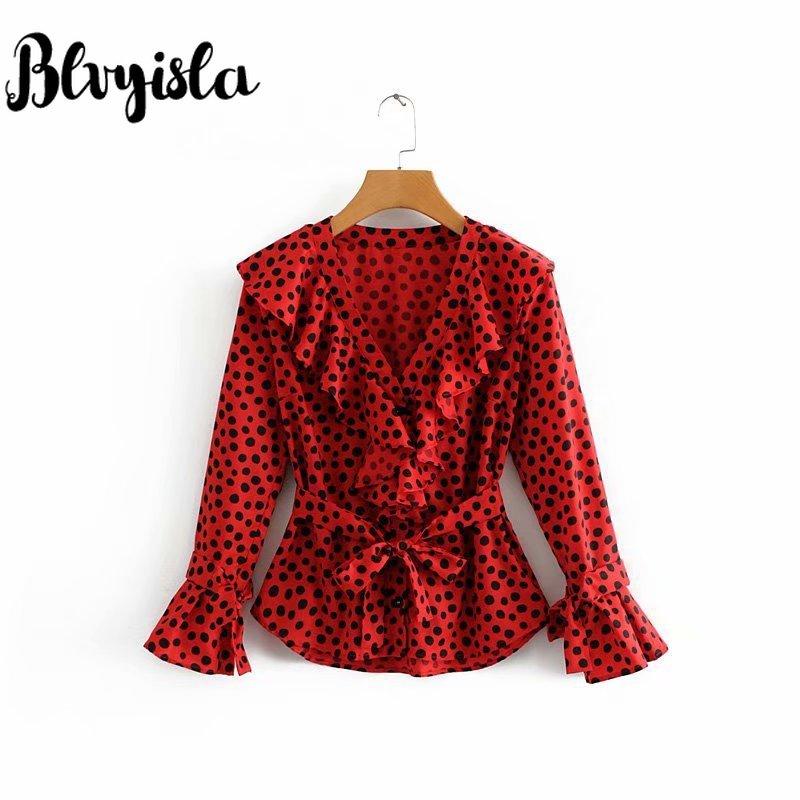 Blvyisla Retro classic Red Point Shirts Sexy Ruffled Blouse Women Chiffon Bandage Deep V Tops