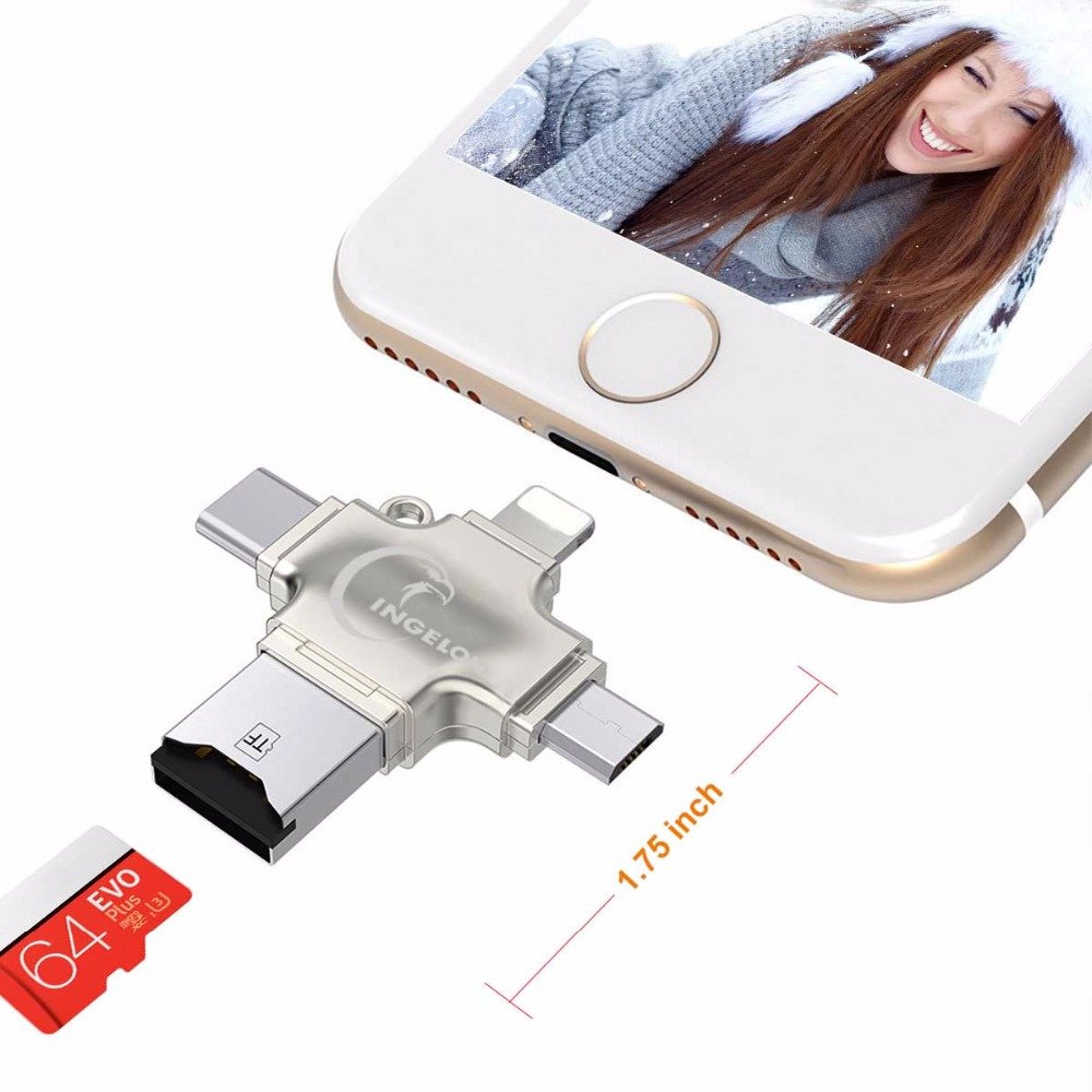 Ingelon Card Reader 4 in 1 TF Micro SD Card Adapter Metal microsdhcsdxc Lightning Flash Memory Card adaptador usb for iphone (5)