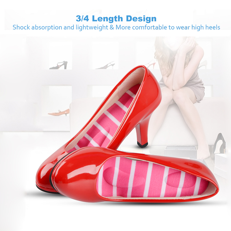 Elino 3/4 Length 3D Massage Comfort Insoles Arch Supports for Women Shoes High Heel Shoe Inserts Cushion Pad Pain Relief Insole