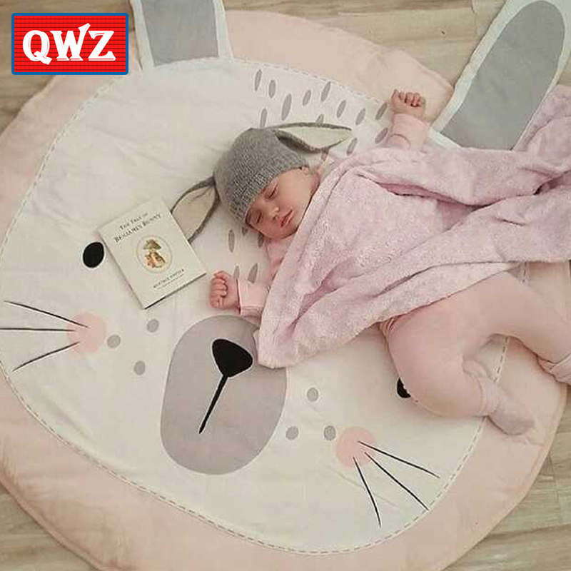 цена на QWZ 90cm Cute Rabbit Baby Cotton Play Mats Children Crawling Rug Carpet Kids Blanket Pad Bed Room Decoration INS Style Blanket