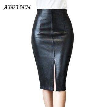 116a25100 Nueva moda mujer PU cuero falda Plus tamaño faldas Midi mujer hendidura  Faldas lápiz Oficina dama falda Casual en Saias femeninas.