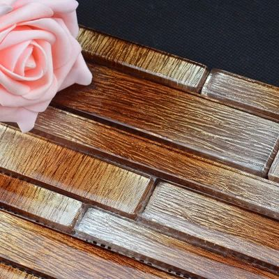 2014 New Arrival Low Key Luxury Brown Red Color Crystal Glass Plastic Folder Mosaic Tiles For Kitchen Backsplash Decoration