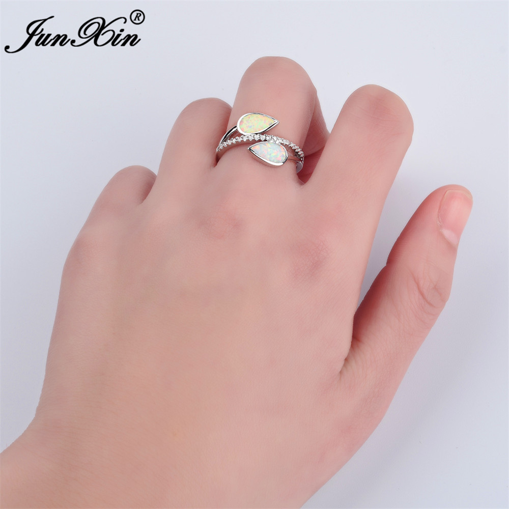 JUNXIN Men Women Blue Fire Opal Stone Ring Unique Water Drop Finger ...
