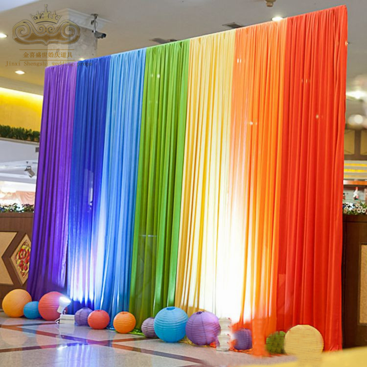 Free shipping pretty colorful ice silk fabric wedding for Backdrop decoration for birthday