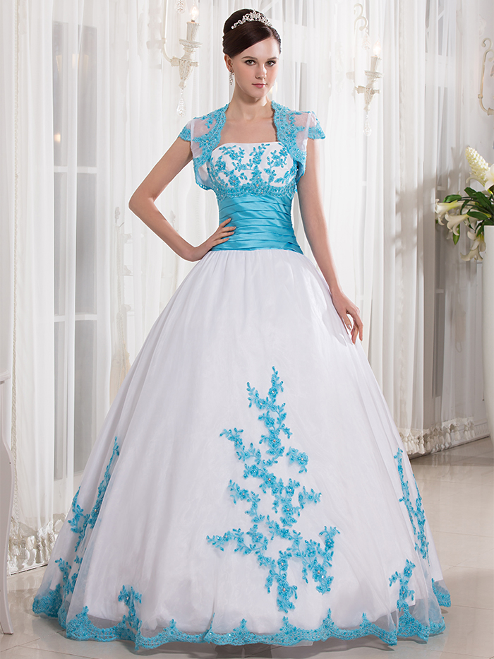 Cecelle 2016 Real Blue And White Two Tones Ball Gown Colorful ...