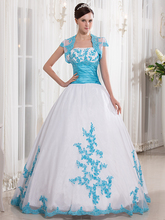 Cecelle 2016 Real Blue And White Two Tones Ball Gown Colorful Wedding Dresses Jacket Beaded Appliques Bridal Gowns Non White