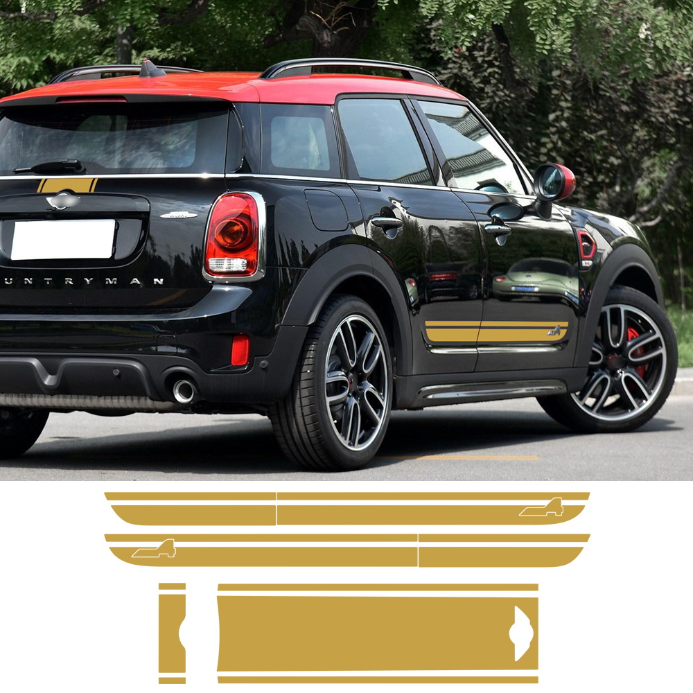 все цены на Set For BMW Mini Cooper S Countryman F60 2017 Hood Trunk Bonnet Rear Door Side Racing Stripe All4 Graphics Decal Stickers онлайн