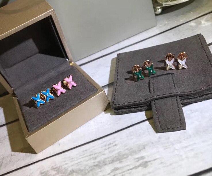 ZOZIRI fashion design 925 boucles d'oreilles en argent Sterling, france paires marque célèbre bijoux femmes mini X boucles d'oreilles 4 couleurs