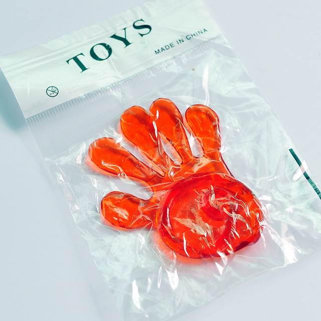 "Hot Selling 72 Pcs Vinyl Glitter Sticky Hands 1 1/4"" Ship in Random Color Hot Toys in Children"