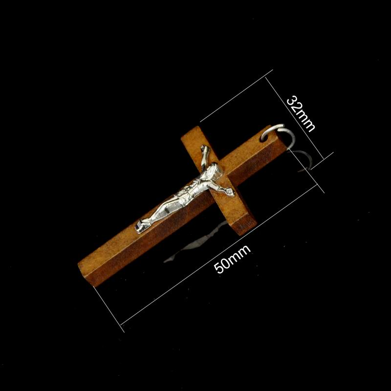 Image 5 - 100pcs 50*32MM Catholic Wooden Cross Jesus Charms For Jewelry Making DIY Accessories Jesus Christian Wood Cross Charms Pendants-in Charms from Jewelry & Accessories