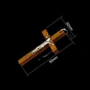 Image 5 - 100pcs 50*32MM Catholic Wooden Cross Jesus Charms For Jewelry Making DIY Accessories Jesus Christian Wood Cross Charms Pendants