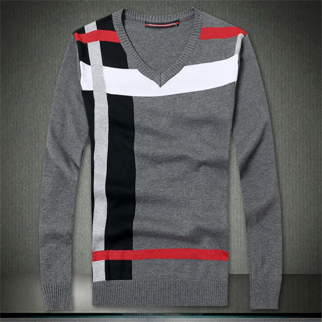 New 2017 Fashion Wool Winter Warm v-neck long sleeve Casual Pullovers Knitted sweater man outdoors oversized male sweaters