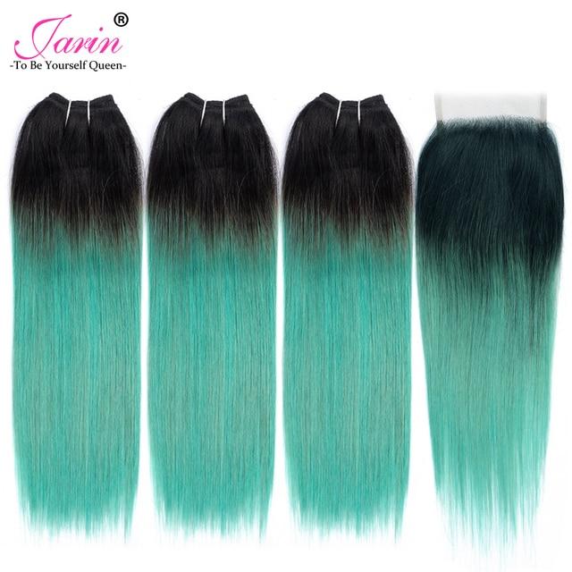 Jarin Hijau Ombre Indian Lurus Rambut Mia 3 Bundel Dengan Renda Closurecolor T1b Turquoise Akar