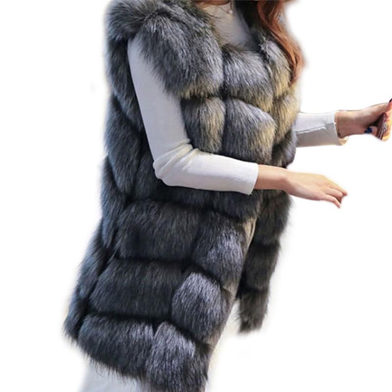 Long Gilet Manteau Vestes Femmes 1 Luxe 4 Pour 2 2018 Sans Fourrure Hiver Renard 3 De Dames Faux Manches Chaud Épais 0qxEO6