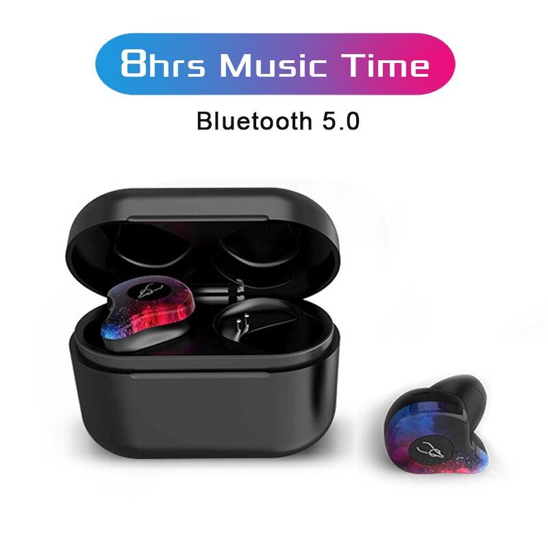 Verdadeiro TWS Vchicsoar Fones de Ouvido Bluetooth Mini Fone de Ouvido Portátil fone de Ouvido Sem Fio Bluetooth 5.0 IPX5 À Prova D' Água com Microfone para Telefone