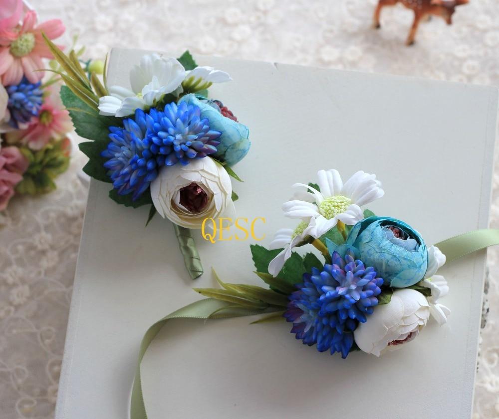 Blue Ivory Silk Flower Wrist Flower Corsage Flower Diy Sinamay