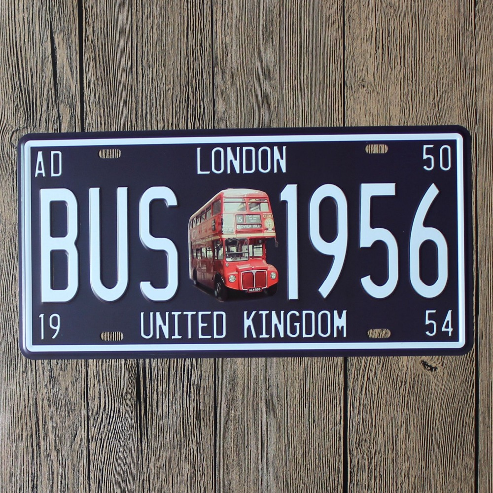 LOSICOE Vintage license plate BUS 1956 Metal signs home decor Office Restaurant Bar Metal Painting art 15x30 CM