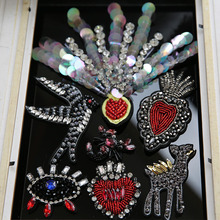 3D Handmade rhinestone beaded Patches for clothing DIY sew on animals Scorpion deer eyes parches embroidery flower appliques