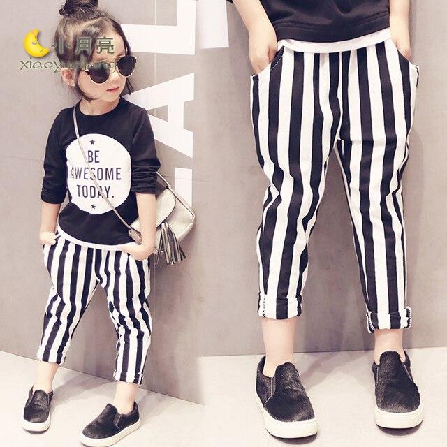 2016 New Stripe Girls Leisure trousers Autumn Girls Casual Cute Kid White Black Stripe pants trousers for girls kids denim jeans