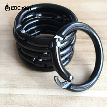6pcs black Circle Round Carabiner Camping Spring Snap Clip Hook Keychain Camping Climbing Hiking Outdoor