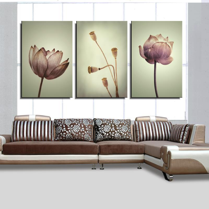 Frameless Canvas Art Oil Painting Flower Painting Design: Lotus Flower Core Flower Classic Spray Oil Painting