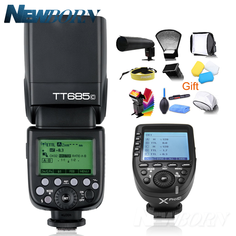 Godox TT685C 1 Flash Da Câmera TTL 2.4 GHz De Alta Velocidade/8000 s GN60 + Xpro-C TTL Sem Fio transmissor para Canon Eos Camera + Gift