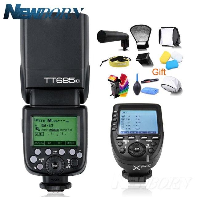 Godox TT685C TTL Flash Della Fotocamera 2.4 GHz Ad Alta Velocità 1/8000 s GN60 + Xpro C TTL Wireless trasmettitore per Canon Eos Macchina Fotografica + Regalo