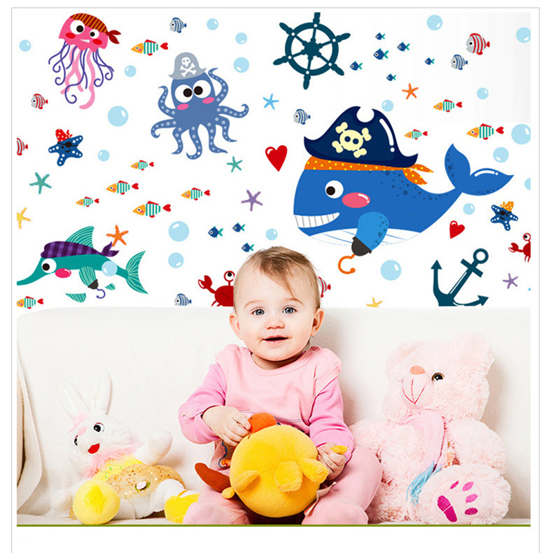 Online Shop Keythemelife 1pcs Cartoon Shark Pirate Wall Stickers Tv