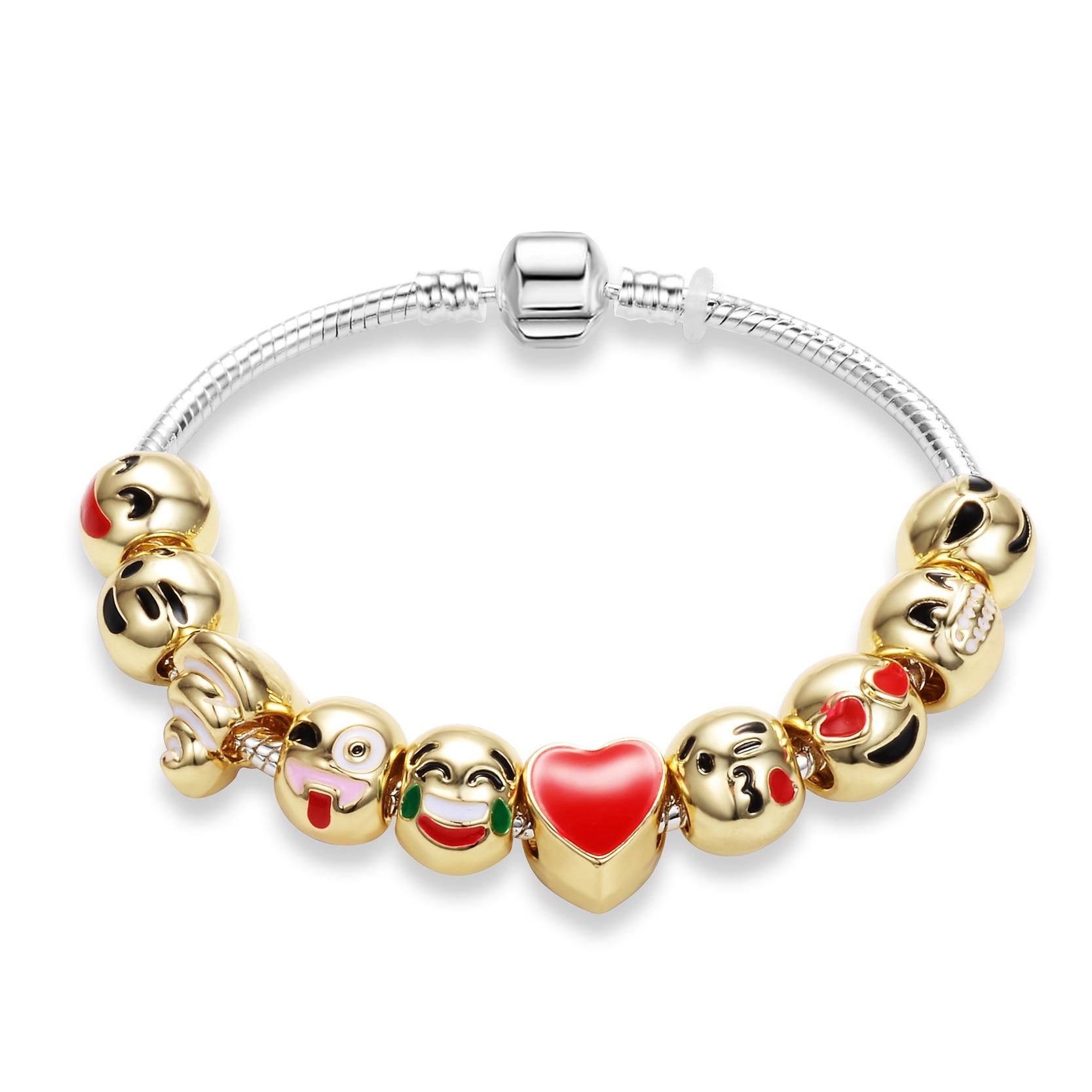 Fashion Diy Emoji Charm Bracelet Love Heart Animal Sterling Silver Jewelry  Golden Color Beads Snake Chain Bracelet For Women