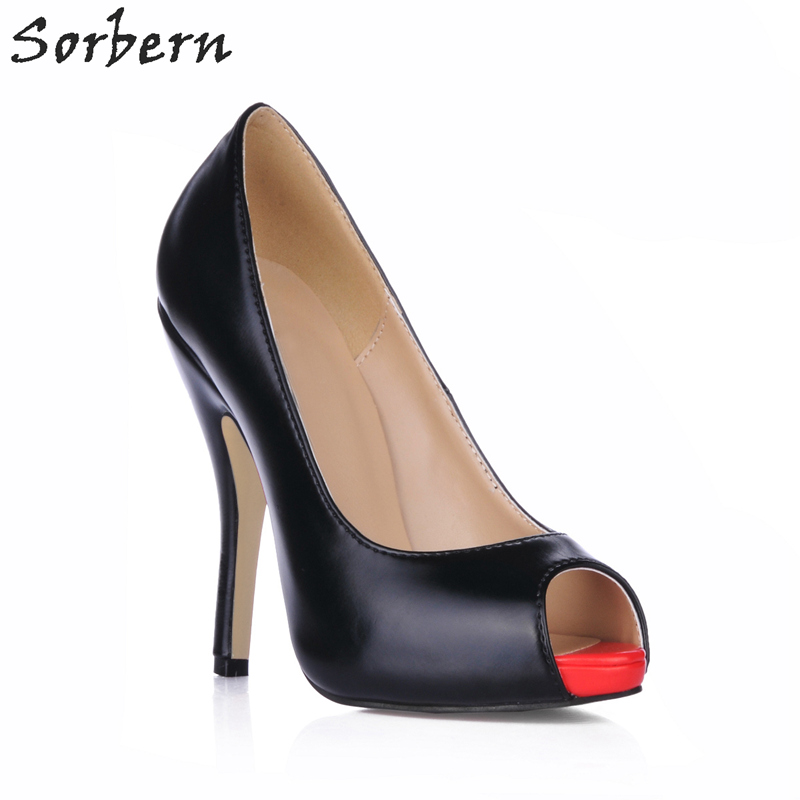 Sorbern Women Pumps Slip On Peep Toe Ladies Party Shoes 11CM Heels 2018 Spring Womens Pumps Women Shoes High Heel Custom C meotina women wedding shoes 2018 spring platform high heels shoes pumps peep toe bow white slip on sexy shoes ladies size 34 43