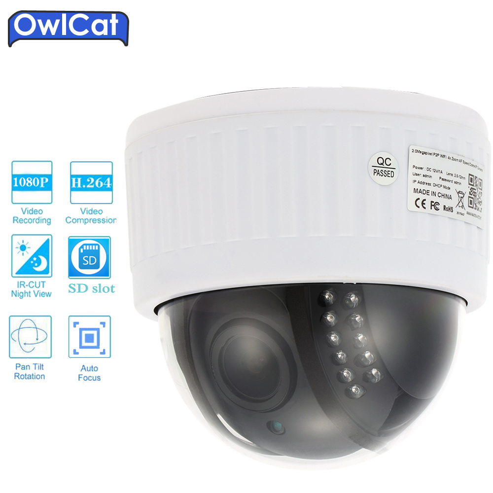Full HD 1080P Dome PTZ Video CCTV IP Camera Wifi 5X Zoom 2.0MP Microphone Audio IR-Cut Security Camera SD Slot Plug n Play P2P owlcat hd 1080p dome ptz ip camera wifi 5x optical zoom audio microphone security cctv wifi camera sd slot ir night onvif2 4 p2p