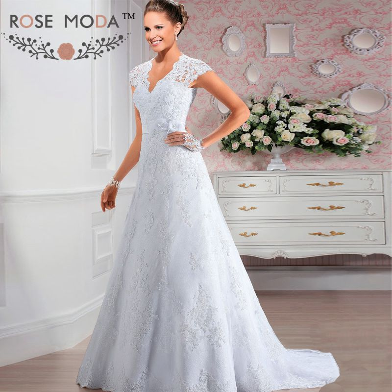 Short Cap Sleeves V Neck Lace A Line Wedding Dress