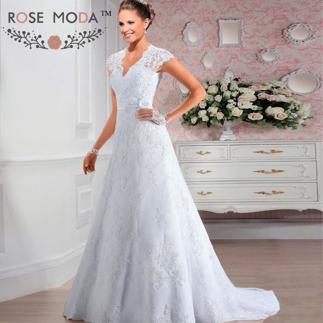 product lace wedding dress with short illusion sleeves