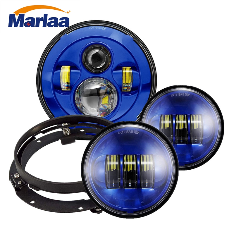 7 inch Daymaker LED Headlight DOT Kit Set Fog Passing Lights for Harley Davidson Ultra Classic Electra Street Glide Road King 7 inch led headlight motorbike suit 7headlight monting ring fog lights for harley davidson electra glide road king street glide