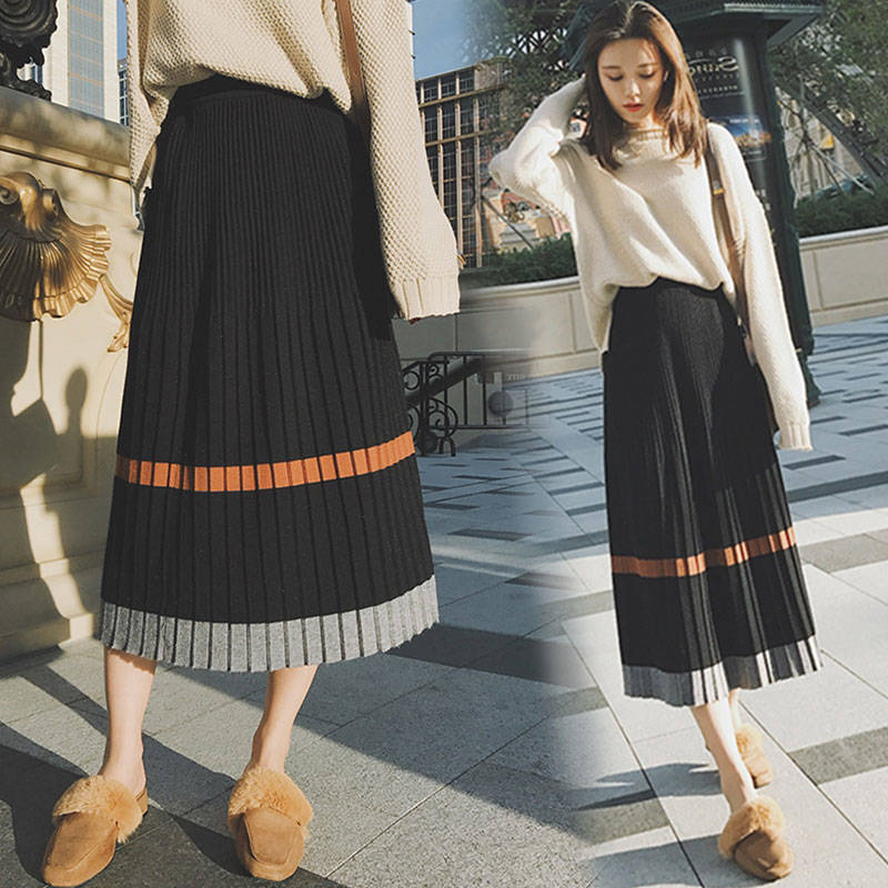 Hanyiren Casual Frauen Strick Plissierten Streifen Röcke Elastische Hohe Taille 2018 Neue Mode Herbst Winter Frauen Lange EINE Linie Röcke