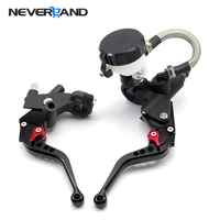New 7 8 Universal Front Master Cylinder Brake Clutch Levers Reservoir Sport Street Bike 5 Colors