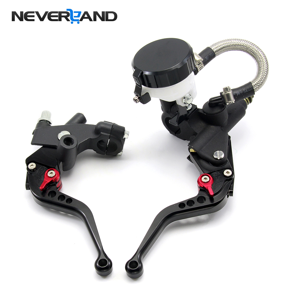 Universal 7/8 Motorcycle Hydraulic Brake Clutch Lever Master Cylinder Reservoir Set For 125-600CC Motorcycle Accessories motorcycle rear brake master cylinder reservoir cove for ktm duke 125 200 390 rc200 rc390 2012 2013 2014