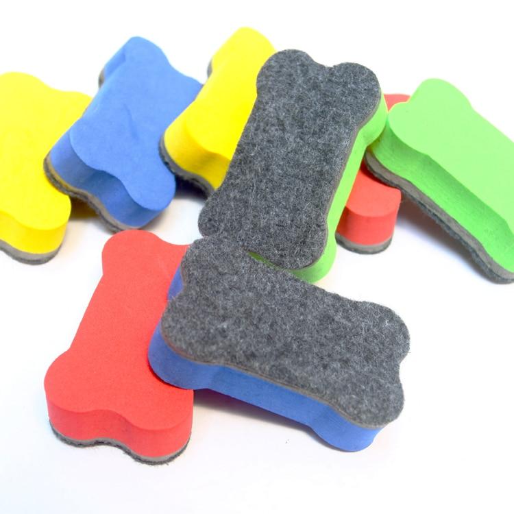 Magnetic White Board Erasers Cute Bone Shape Dry Wipe White Presentation Boards Writing Record Board Magnetic Marker Pen Eraser