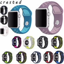 CRESTED colorful Silicone strap for apple watch band 42mm Rubber sport bracelet wrist band With Adapter for iwatch  NIKE 1 2 3