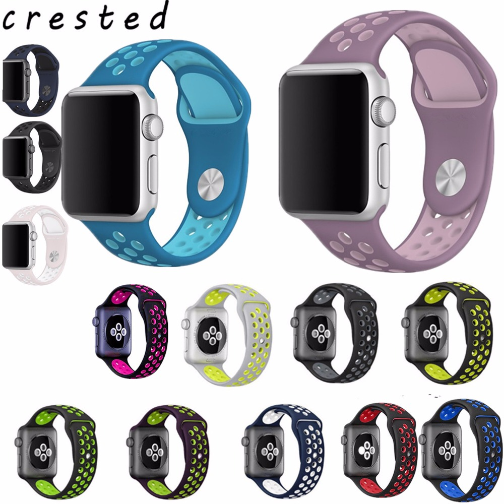 CRESTED colorful Silicone strap for apple watch band 42mm Rubber sport bracelet wrist band With Adapter for iwatch  NIKE 1 2 3 22mm 24mm silicone rubber band for 38mm 42mm iwatch apple watch sport edition stainless steel buckle strap bracelet with adapter