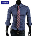 New Arrival 10 Color Men T Shirt 2016 Autumn Full Sleeve Men's T-shirts Gentleman Style Shirt Single Breasted tshirt Men Dress