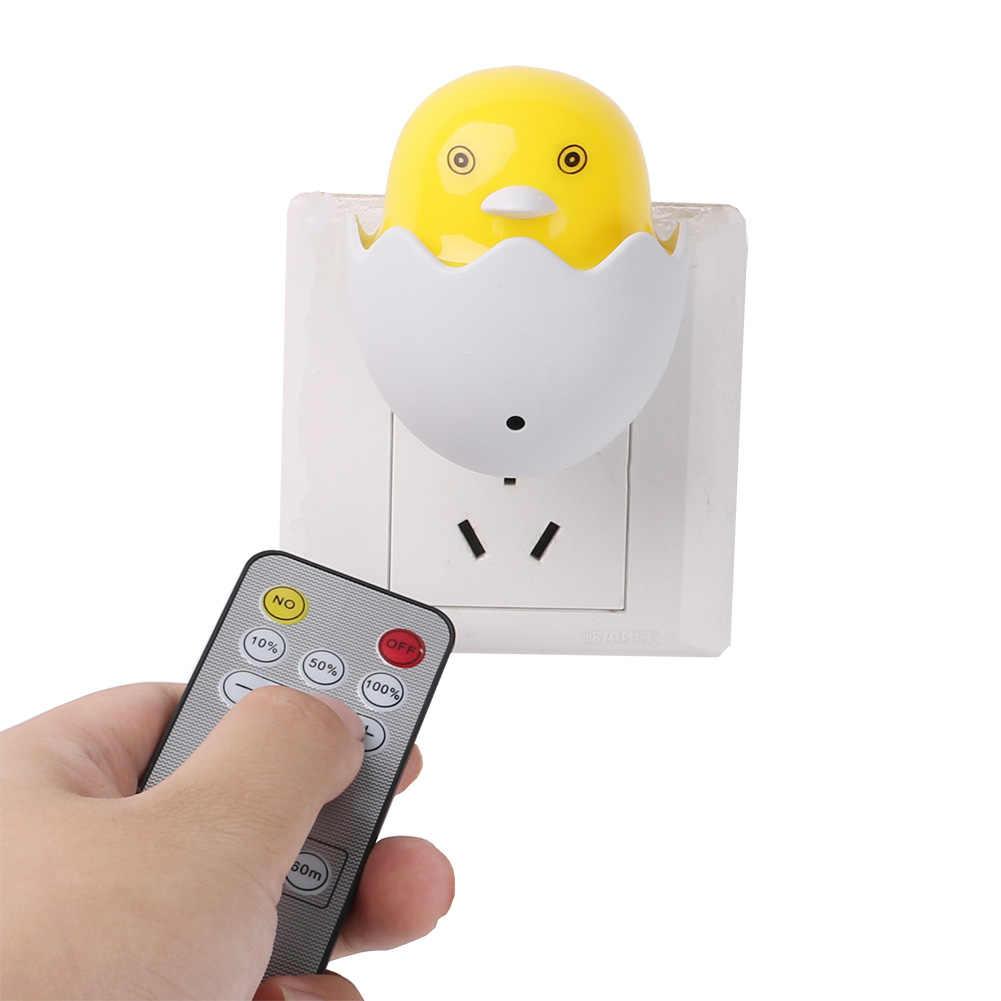 Настенная лампа в розетку, США, ЕС, светодиодный ночник, AC 110-220 В, пульт дистанционного управления, желтая утка, лампа для спальни, подарок для детей, милый