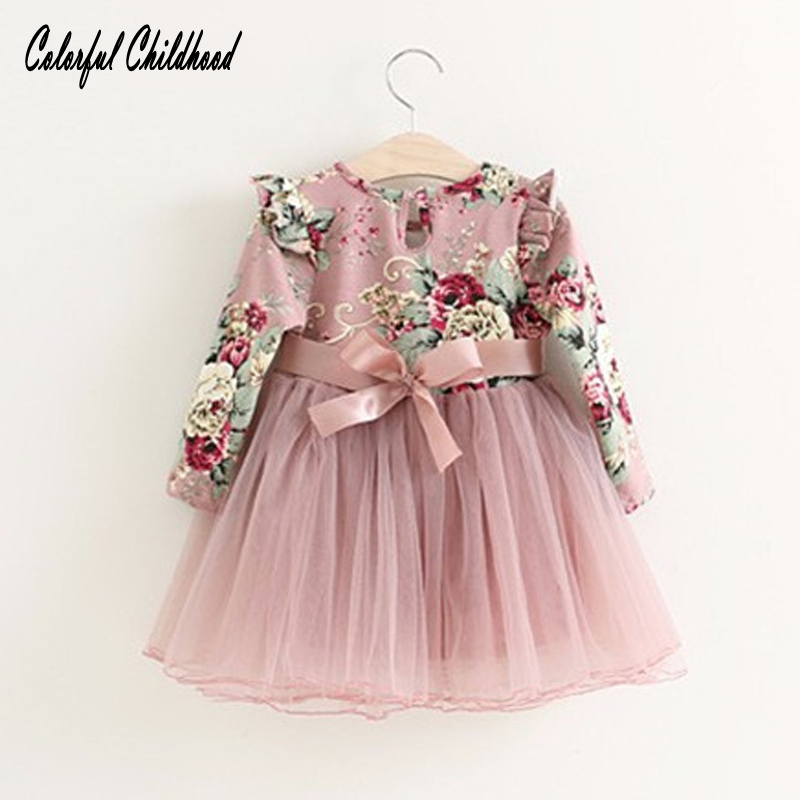 Toddler girls princess dress baby Floral dresses little girls Christmas Party dress kids red pink tutu dress children clothing