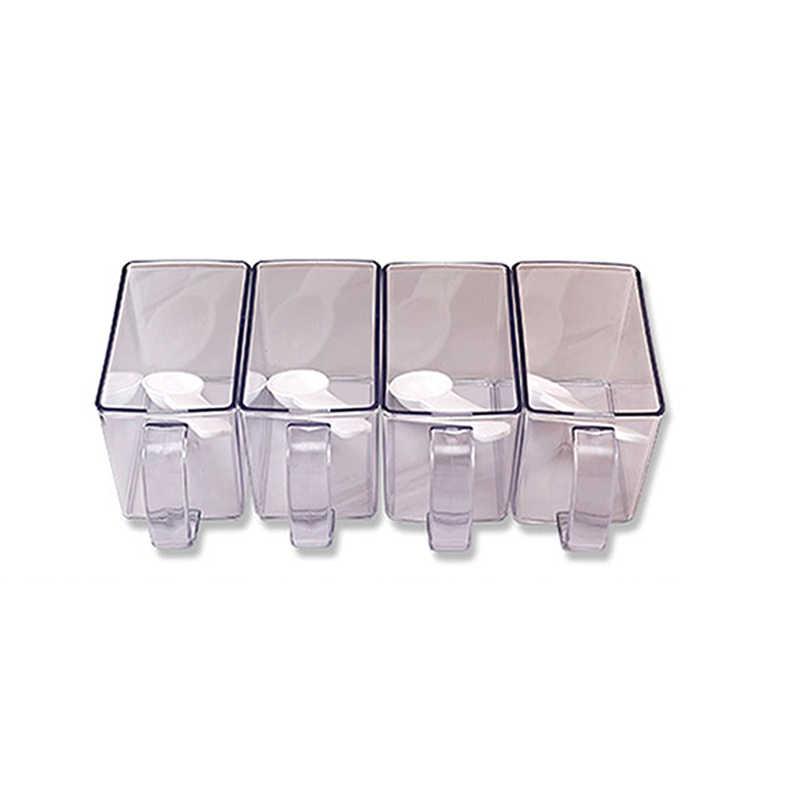 4 шт./компл. белый прозрачный солонка перец шейкер хранения приправа коробка пластиковая банка для приправ настенный бутылка для приправ стойка для приготовления пищи