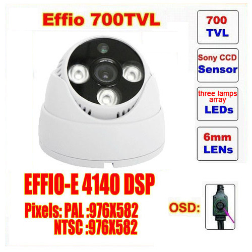 Free shipping video camera mini dome camera sony effio three lamps array led infrared osd menu waterproof ir 20m c413h