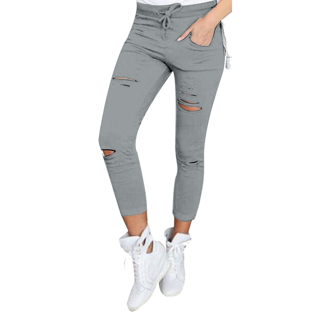 2019 Summer Women Skinny Cut Pencil Pants High Waist Stretch Jeans Trousers Casual Fashion Cotton Pants Slim Legging White Black 6
