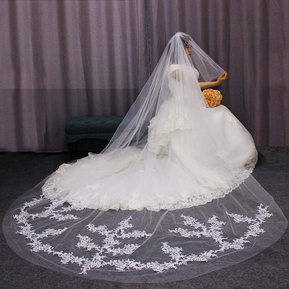 Long 2 T Wedding Veil Lace Appliques 2 Layers Cover Face Bridal Veil With Blusher Comb Wedding Accessories Welon