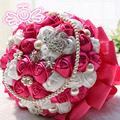 Best Selling Ivory Pink Brooch Bouquet Wedding Bouquet de mariage Polyester Wedding Bouquets Pearl Flowers buque de noiva D197
