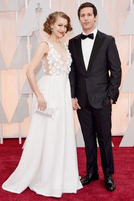 Sexy A-line See Through V-neck Hand Made Flowers 87th Oscars Red Carpet Celebrity Dresses